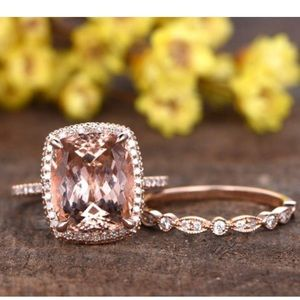 4.4ct PINK MORGANITE 14K ROSE GOLD HALO DIAMOND